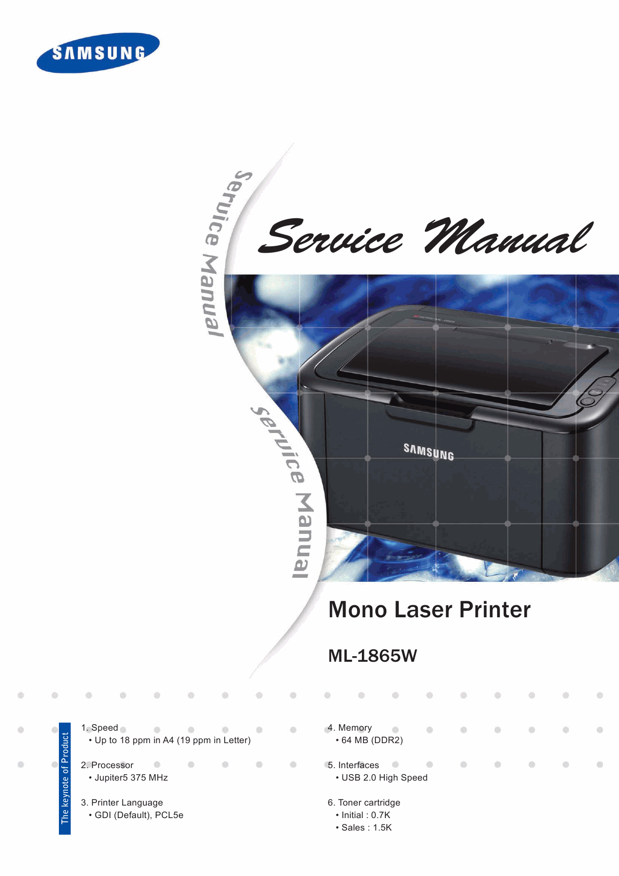 Samsung Laser-Printer ML-1865W Parts and Service Manual-1